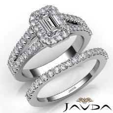Halo Sidestone Bridal Set diamond Ring 14k Gold White