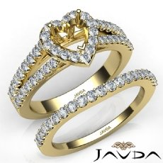 U Prong Diamond Engagement Semi Mount Ring Heart Bridal Set 14k Gold Yellow  (1.25Ct. tw.)