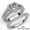 U Prong Diamond Engagement Semi Mount Ring Heart Bridal Set 14k White Gold 1.25Ct - javda.com