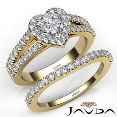 U Cut Pave Halo Bridal Set Heart diamond engagement Ring in 14k Gold Yellow