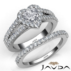 U Cut Pave Halo Bridal Set Heart diamond engagement Ring in 14k Gold White