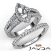 U Prong Diamond Engagement Semi Mount Ring Marquise Bridal Set 14k White Gold 1.25Ct - javda.com