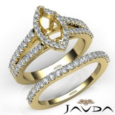 U Prong Diamond Engagement Semi Mount Ring Marquise Bridal Set 14k Gold Yellow  (1.25Ct. tw.)