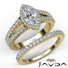 Modern Halo Bridal Set Marquise diamond engagement Ring in 14k Gold Yellow