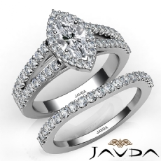 Modern Halo Bridal Set Marquise diamond engagement Ring in 14k Gold White