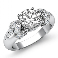 Pave Set Classic Side Stone Round diamond engagement Ring in 14k Gold White