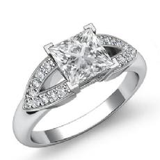 V Shaped Shank Pave Set Princess diamond engagement Ring in 14k Gold White