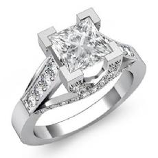 Trellis Classic Sidestone Princess diamond engagement Ring in 14k Gold White