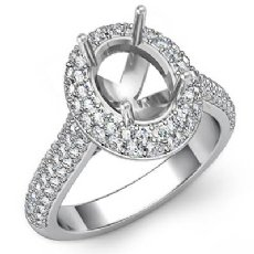 1.5CT Diamond Engagement Ring Halo Pave Setting 14k White Gold Oval Semi Mount