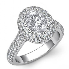 Duet Halo Bridge Accent Oval diamond engagement Ring in 14k Gold White