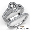 U Prong Diamond Engagement Semi Mount Ring Oval Bridal Set 18k White Gold 1.25Ct - javda.com