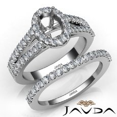 U Prong Diamond Engagement Semi Mount Ring Oval Bridal Set 14K White Gold 1.25Ct
