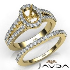 U Prong Diamond Engagement Semi Mount Ring Oval Bridal Set 14k Gold Yellow  (1.25Ct. tw.)