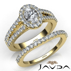 Hand Crafted Wedding Set Oval diamond engagement Ring in 14k Gold Yellow