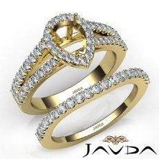 U Prong Diamond Engagement Semi Mount Ring Pear Bridal Set 14k Gold Yellow  (1.25Ct. tw.)