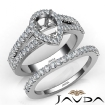 U Prong Diamond Engagement Semi Mount Ring Pear Bridal Set 14k White Gold 1.25Ct - javda.com