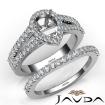 U Prong Diamond Engagement Semi Mount Ring Pear Bridal Set 14k White Gold 1.25Ct - javda.com