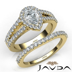 Bridal Set Split Shank Pear diamond engagement Ring in 14k Gold Yellow