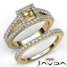 U Prong Diamond Engagement Semi Mount Ring Princess Bridal Set 14k Gold Yellow  (1.25Ct. tw.)