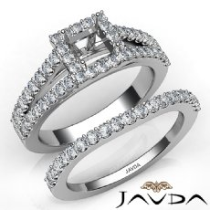 U Prong Diamond Engagement Semi Mount Ring Princess Bridal Set 14K W Gold 1.25Ct