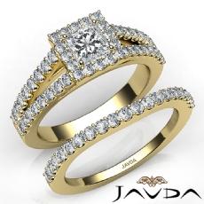 Halo Split-Shank Bridal Set Princess diamond engagement Ring in 14k Gold Yellow