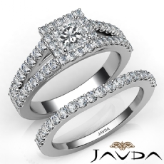 Halo Split-Shank Bridal Set Princess diamond engagement Ring in 14k Gold White