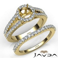 U Prong Diamond Engagement Semi Mount Ring Round Bridal Set 14k Gold Yellow  (1.25Ct. tw.)