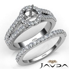 U Prong Diamond Engagement Semi Mount Ring Round Bridal Set 14K W Gold 1.25Ct
