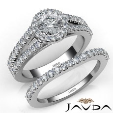 Luxurious Wedding Bridal Set Round diamond engagement Ring in 14k Gold White