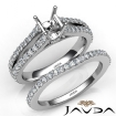 Prong Diamond Engagement Ring Asscher Bridal Set 14k White Gold Semi Mount 1.1Ct - javda.com