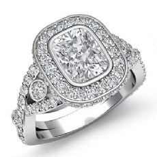 Bezel Cross Shank Halo Pave Cushion diamond engagement Ring in 14k Gold White
