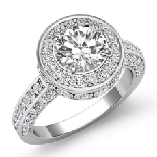 Halo Pave Bezel Side Stone Round diamond engagement Ring in 14k Gold White