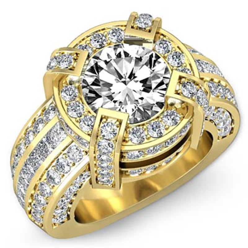 39c81adce Round Diamond Engagement Ring 18k Yellow Gold (3.7ctw.)