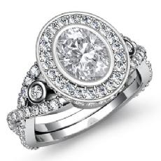 Halo Bezel Set XOXO Shank Oval diamond engagement Ring in 14k Gold White