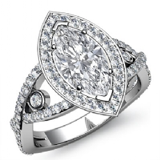 Cross Shank Circa Halo Marquise diamond engagement Ring in 14k Gold White