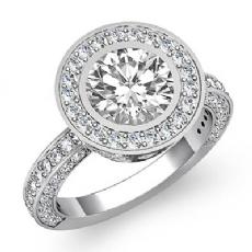 Bezel Halo Pave Set Filigree Round diamond engagement Ring in 14k Gold White