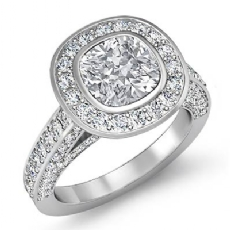 Halo Pave Bezel Set Accent Cushion diamond engagement Ring in 14k Gold White