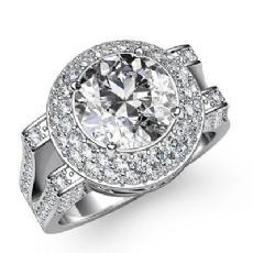 Gala Halo Split Shank Round diamond engagement Ring in 14k Gold White
