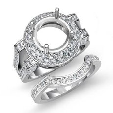 1.45Ct Pave Diamond Engagement Ring Round Semi Mount Bridal Set 14K White Gold