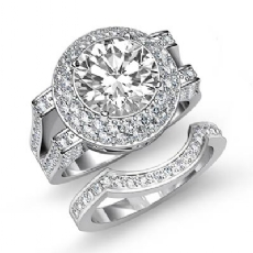 Double Halo Pave Bridal Set Round diamond engagement Ring in 14k Gold White