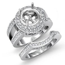 1.85 Ct Round Pave Diamond Engagement Ring 14K White Gold Wedding Bridal Setting