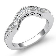 0.53Ct Pave Diamond Wedding Band Matching Set 14k White Gold
