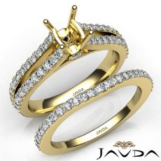 Prong Diamond Engagement Ring Cushion Bridal Set 14k Gold Yellow Semi Mount  (1.1Ct. tw.)