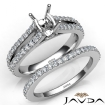 Prong Diamond Engagement Ring Cushion Bridal Set 14k White Gold Semi Mount 1.1Ct - javda.com