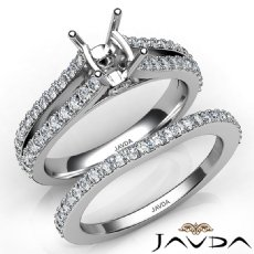 Prong Diamond Engagement Ring Cushion Bridal Set 14K W Gold Semi Mount 1.1Ct.