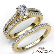 Split Shank Bridal Set Cushion diamond engagement Ring in 14k Gold Yellow