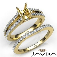 Prong Diamond Engagement Ring Bridal Set 14k Gold Yellow Cushion Cut Semi Mount  (1.1Ct. tw.)