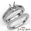 Prong Diamond Engagement Ring Bridal Set 14k White Gold Cushion Cut Semi Mount 1.1Ct - javda.com