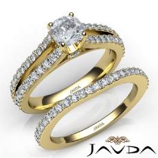 Split Shank Prong Bridal Cushion diamond engagement Ring in 14k Gold Yellow