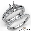 Prong Diamond Engagement Ring Emerald Bridal Set 14k White Gold Semi Mount 1.1Ct - javda.com